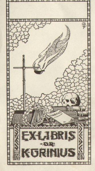 K. Griniaus ekslibrisas. Dailininkas – Jonas Burba.