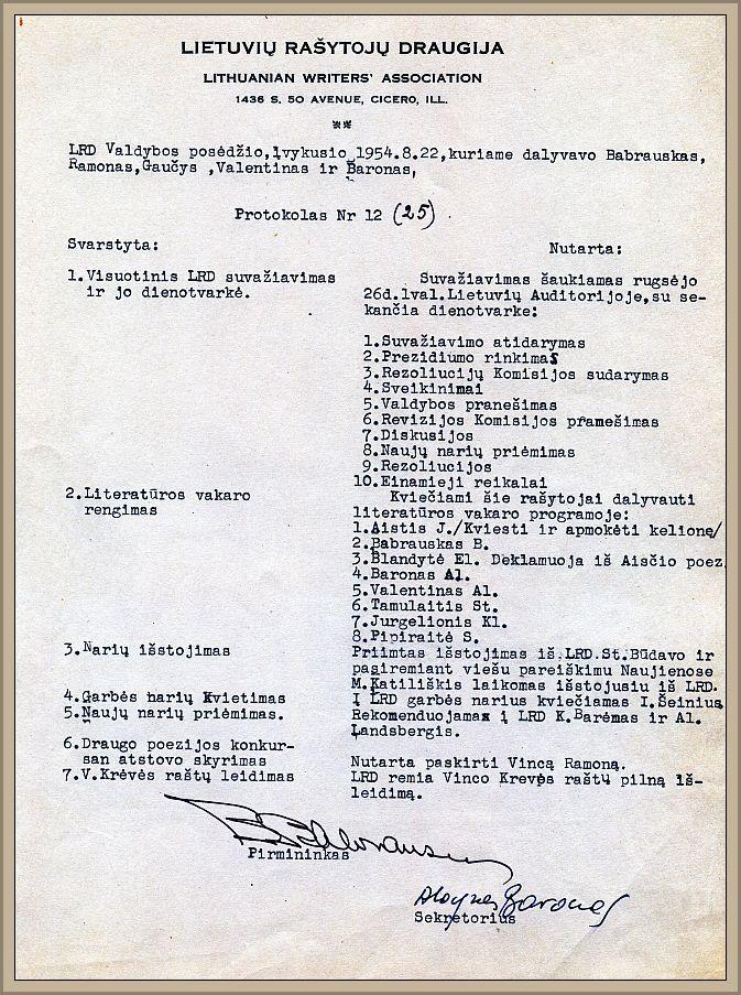 1954 metų LRD valdybos posėdžio protokolas.