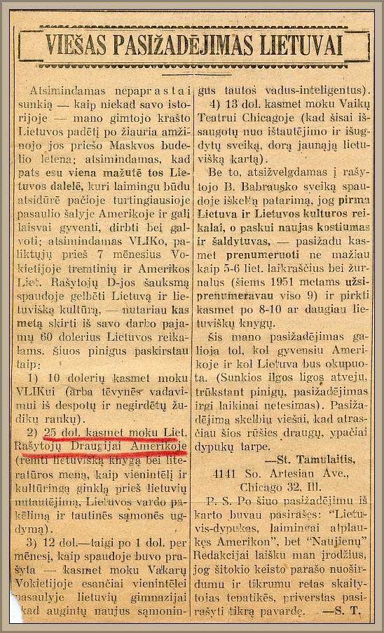 """St. Tamulaičio """"Viešas pasižadėjimas Lietuvai"""" (""""Naujienos"""", 1951 m. vasario 3 d.)."""
