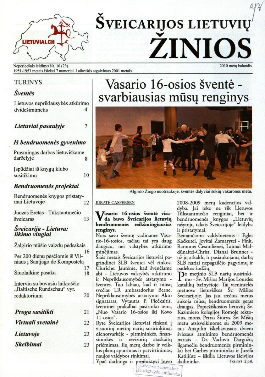 """""""Šveicarijos lietuvių žinių"""" antraštinis puslapis. 2010 m. balandis, Nr. 16"""