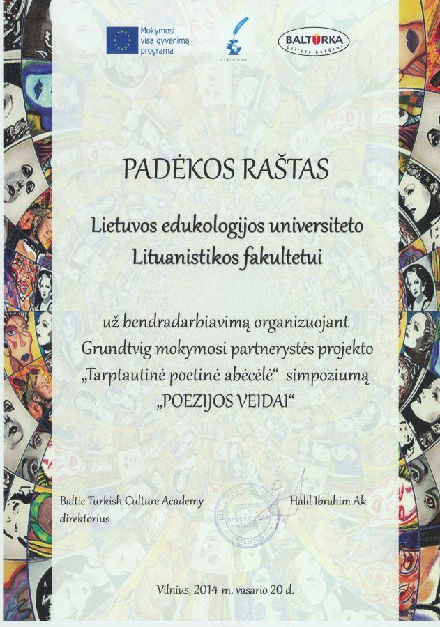 Baltic Turkish Culture Academy direktoriaus H. Ibrahim Ak padėka Lietuvos edukologijos universiteto Lituanistikos fakultetui. 2014 m. vasario 20 d.