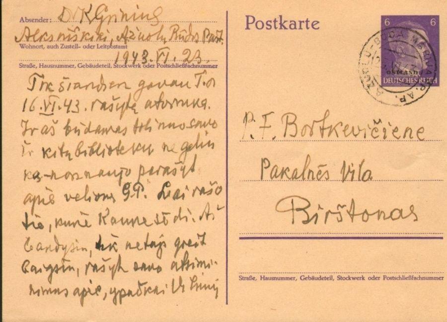 K. Griniaus laiškas F. Bortkevičienei. Ąžuolų Būda, Birštonas, 1943 m. birželio 23 d.