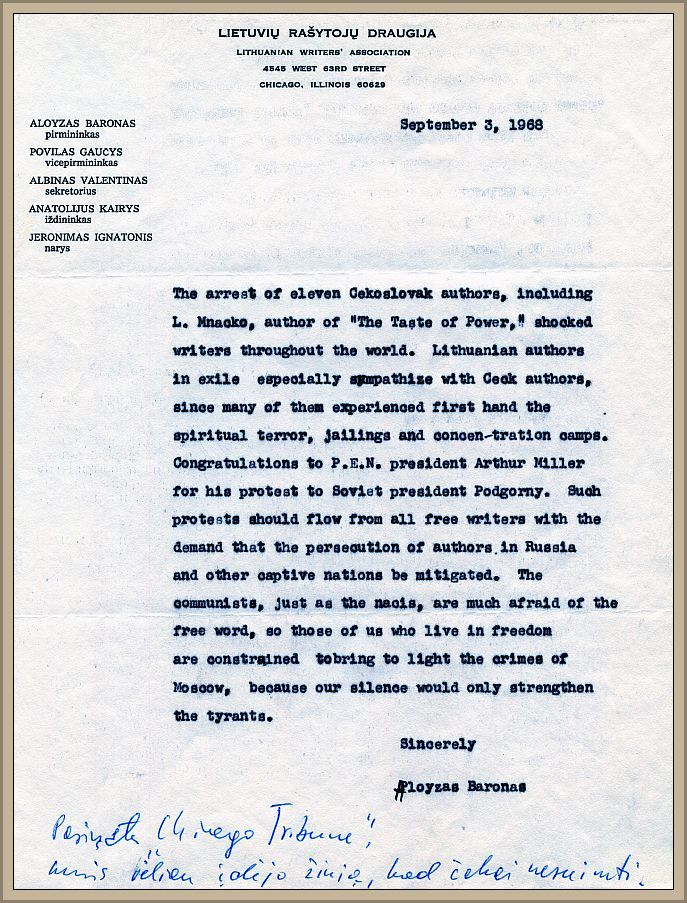 """LRD pareiškimas laikraščio """"Chicago Tribune"""" redakcijai dėl 1968 m. įvykių Čekoslovakijoje, 1968 m. rugsėjo 3 d."""
