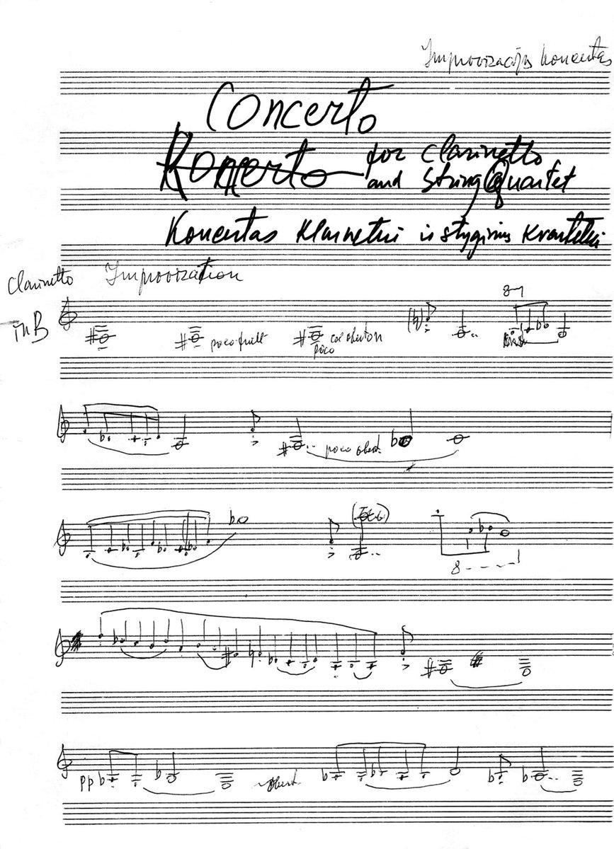 Koncerto klarnetui ir styginiams pradžia (rankraštis, 1985 m.)
