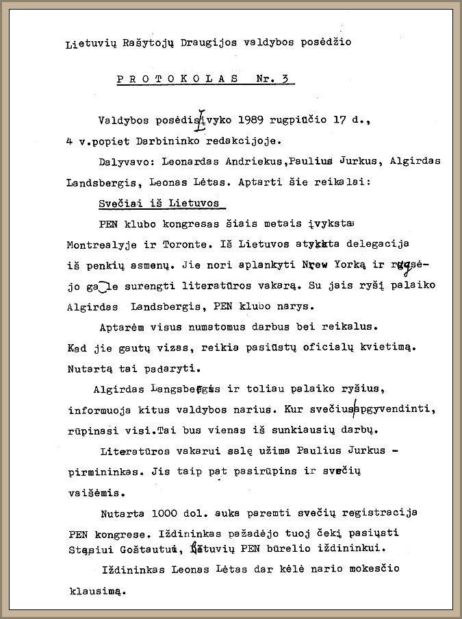 LRD valdybos posėdžio protokolas nr. 3.