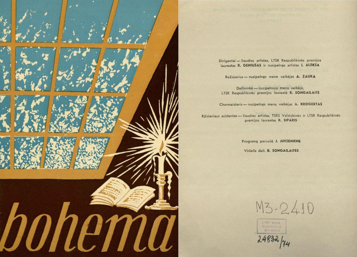 Bohema. Dž. Pučinio 4 veiksmų opera. 1972 m.