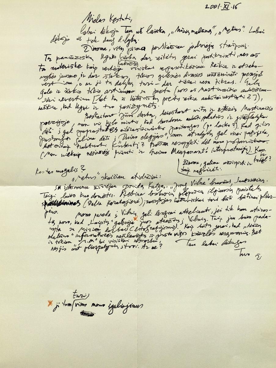 Dailininko Žibunto Mikšio laiškas. Paryžius. 2001.11. 16.