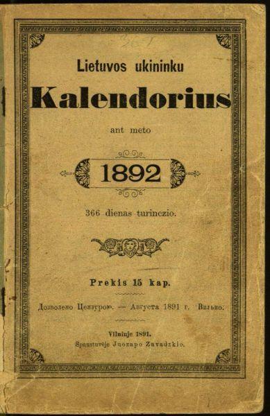 Lietuvos ukininku kalendorius ant meto 1892: 366 dienas turinczio.