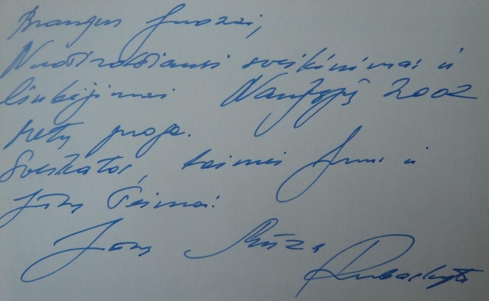 Pianistės Muzos Rūbeckytės sveikinimas Juozui Budraičiui Naujųjų Metų proga. 2002 m.