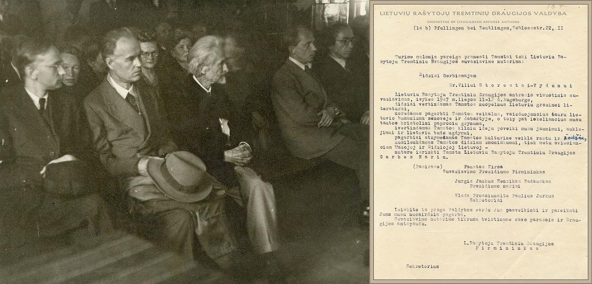Vydūnas (trečias iš kairės) – pirmajame  LRTD suvažiavime. Don Šulaičio nuotr. ir LRTD suvažiavimo sveikinimo laiškas Vydūnui, jam tapus draugijos garbės nariu, 1947 metai.