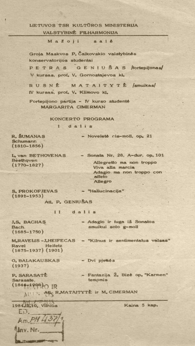 Koncerto Lietuvos valstybinėjė filharmonijoje 1984 m. kovo 10 d. programa