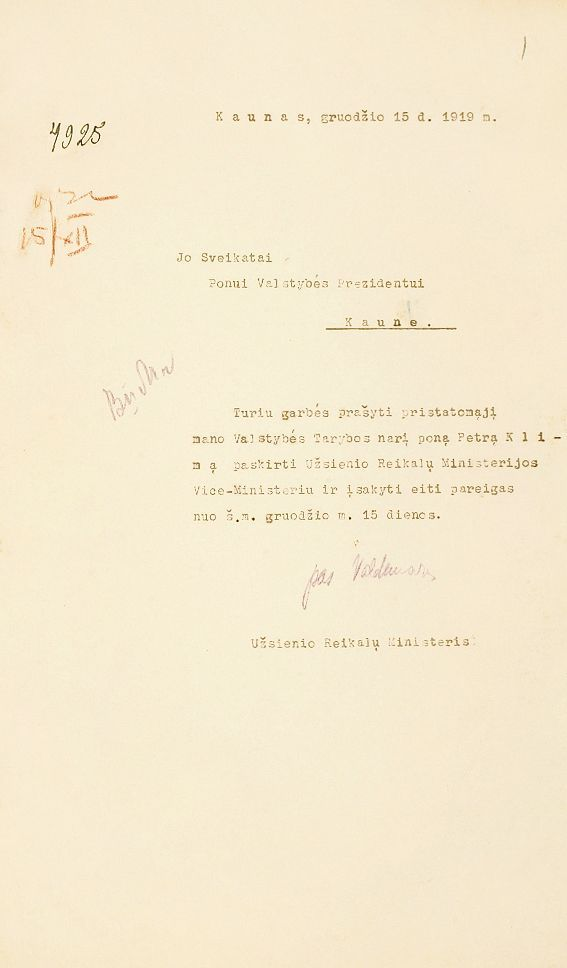 Užsienio reikalų ministro Augustino Voldemaro 1919 m. gruodžio 15 d. prašymas Valstybės prezidentui skirti Petrą Klimą užsienio reikalų viceministru.