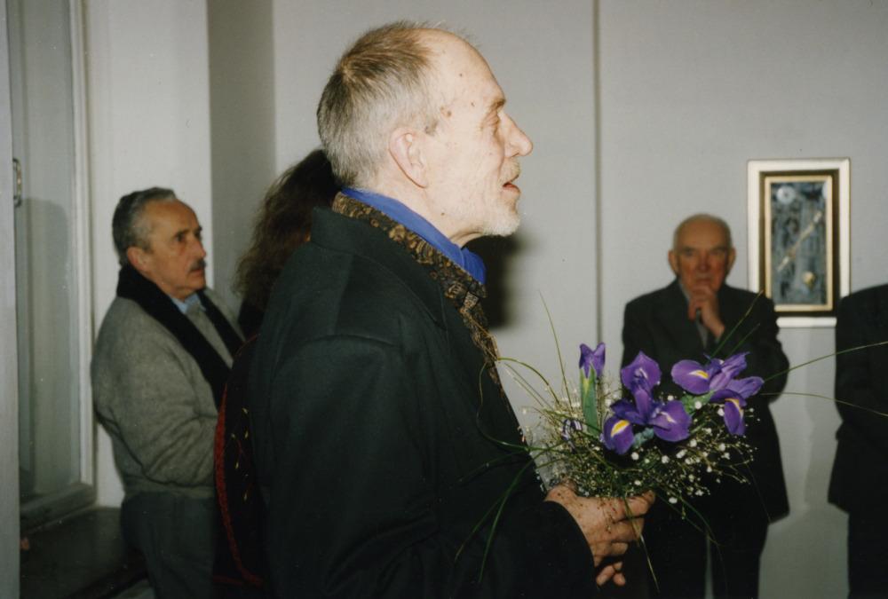 V. Žalakevičius savo gero bičiulio dailininko Vytauto Kalinausko parodos atidaryme.