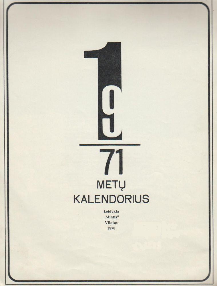 Kalendorius 1971 metų.