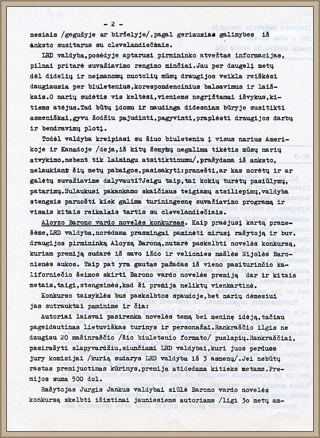 """Ištrauka iš LRD valdybos biuletenio """"Pranešimai Draugijos nariams"""" (nr. 3) apie A. Barono vardo novelės konkursą, 1981 m. liepos 15 d."""