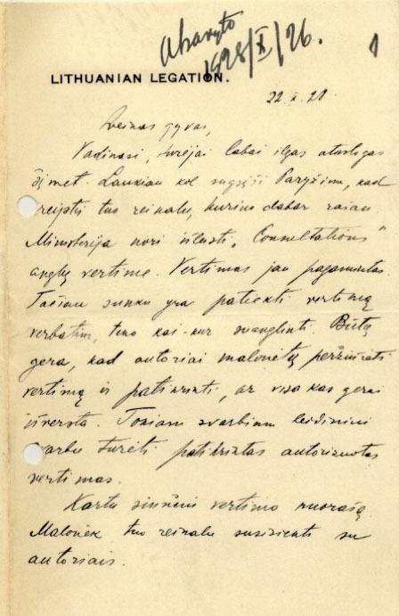 Lietuvos pasiuntinio Didžiojoje Britanijoje K. Bizausko laiškas P. Klimui (lituanistinės literatūros leidimo klausimais). 1928 m., Londonas.