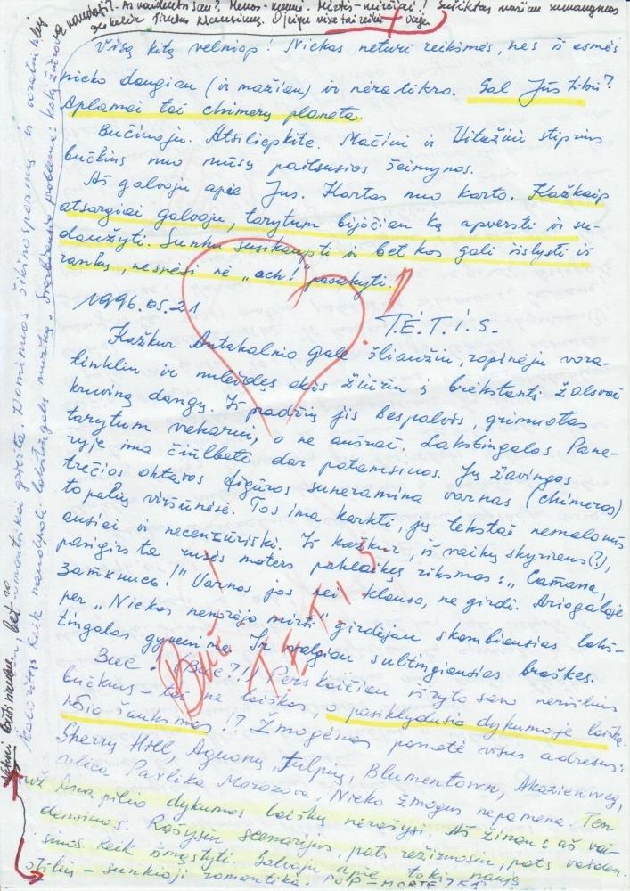 V. Žalakevičiaus paskutinis laiškas, rašytas dukrai Vitai ir jos vyrui Maciejui. 1996 m. gegužės 21 d.