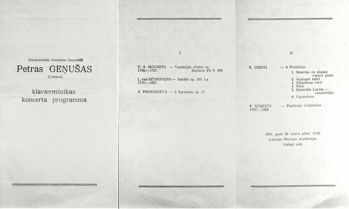 Koncerto Rygoje programa. 1991 m.