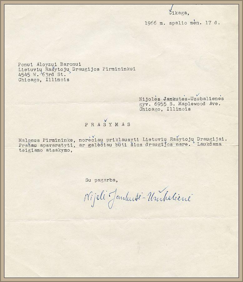 Rašytojos Nijolės Jankutės-Užubalienės prašymas tapti LRD nare, 1966 m. spalio 17 d.