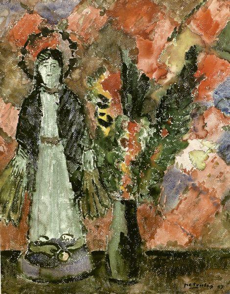 Natiurmotras su statulėle. 1967. Popierius, akvarelė