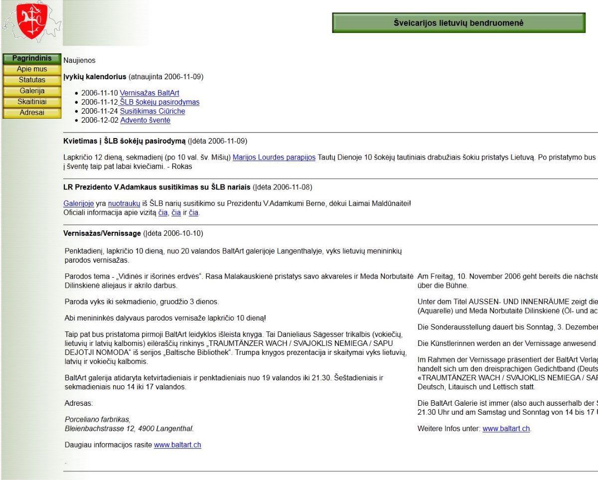 Pirmoji Šveicarijos lietuvių bendruomenės svetainė sukurta 2003 m.