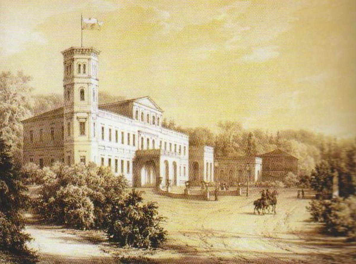Rietavo dvaras. XIX a. pabaiga. N. Ordos piešinys