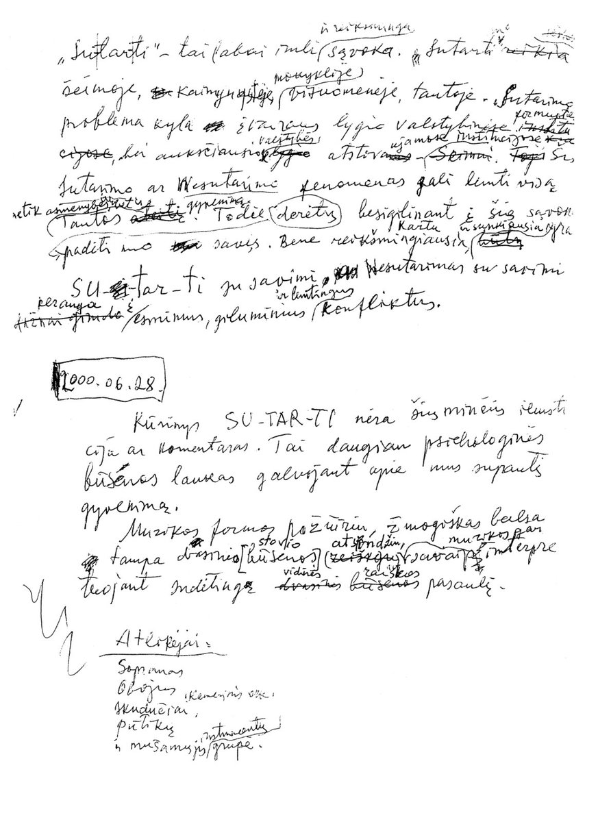 """Juliaus Juzeliūno paskutinio kūrinio (""""Sutarti"""") koncepcija, 2000 m."""