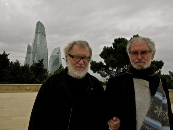 Su aktoriumi J. Budraičiu išvykos į Bakų (Azerbaidžanas) metu. 2012 m.