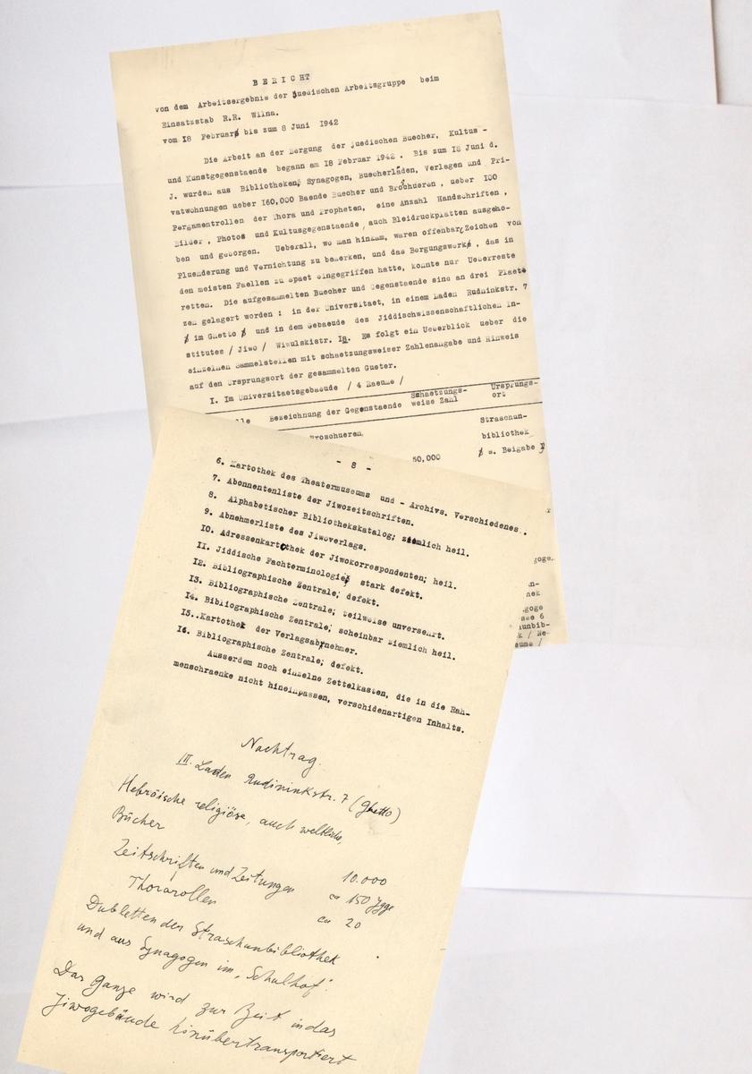 Žydų intelektualų ataskaita Alfredo fon Rozenbergo štabui (ERR) apie knygų ir dokumentų rūšiavimo eigą, 1942 06 08.<br /> Lietuvos centrinis valstybės archyvas.
