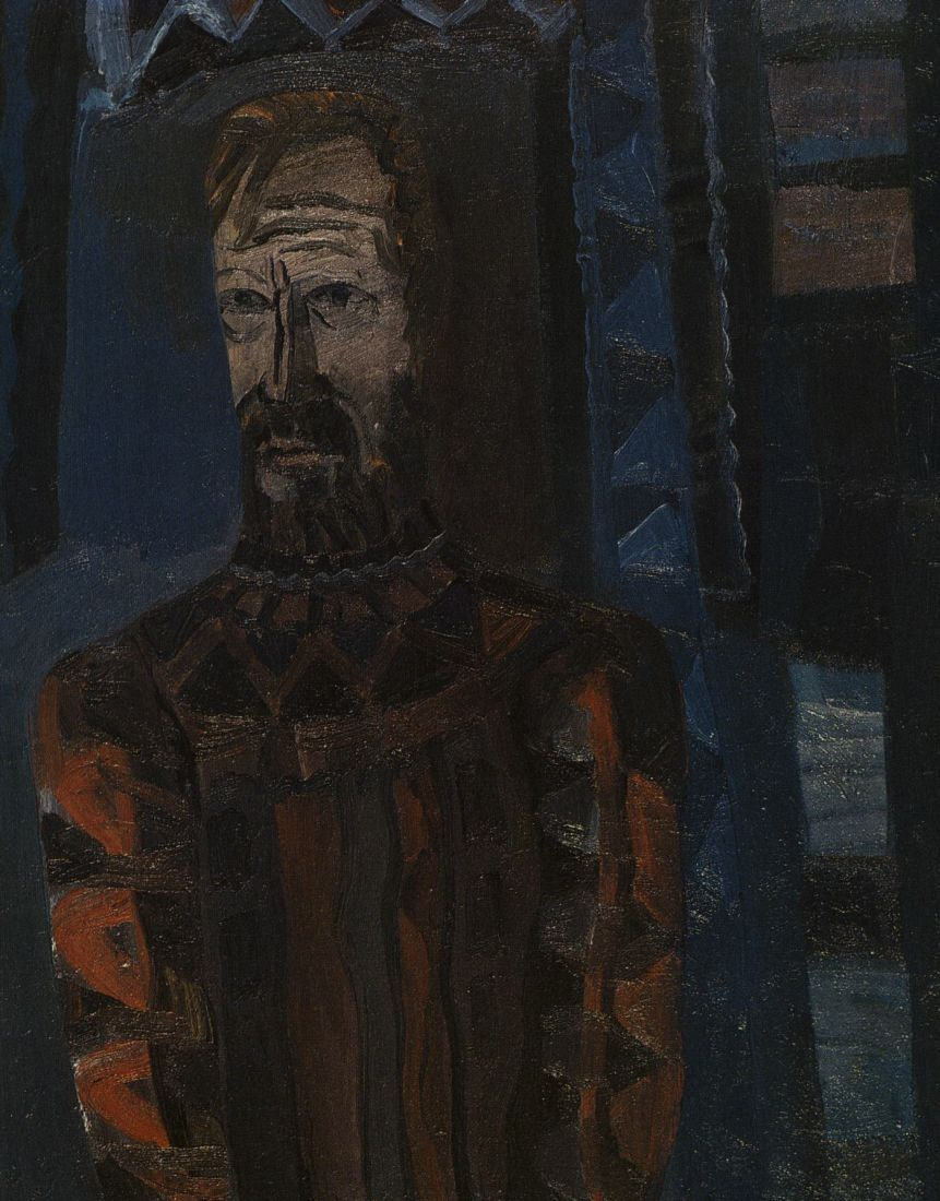 """""""Aktorius Juozas Budraitis"""". Drobė, aliejus: [reprod., spalv.]. 1984 m. Dailininkas A. Savickas."""