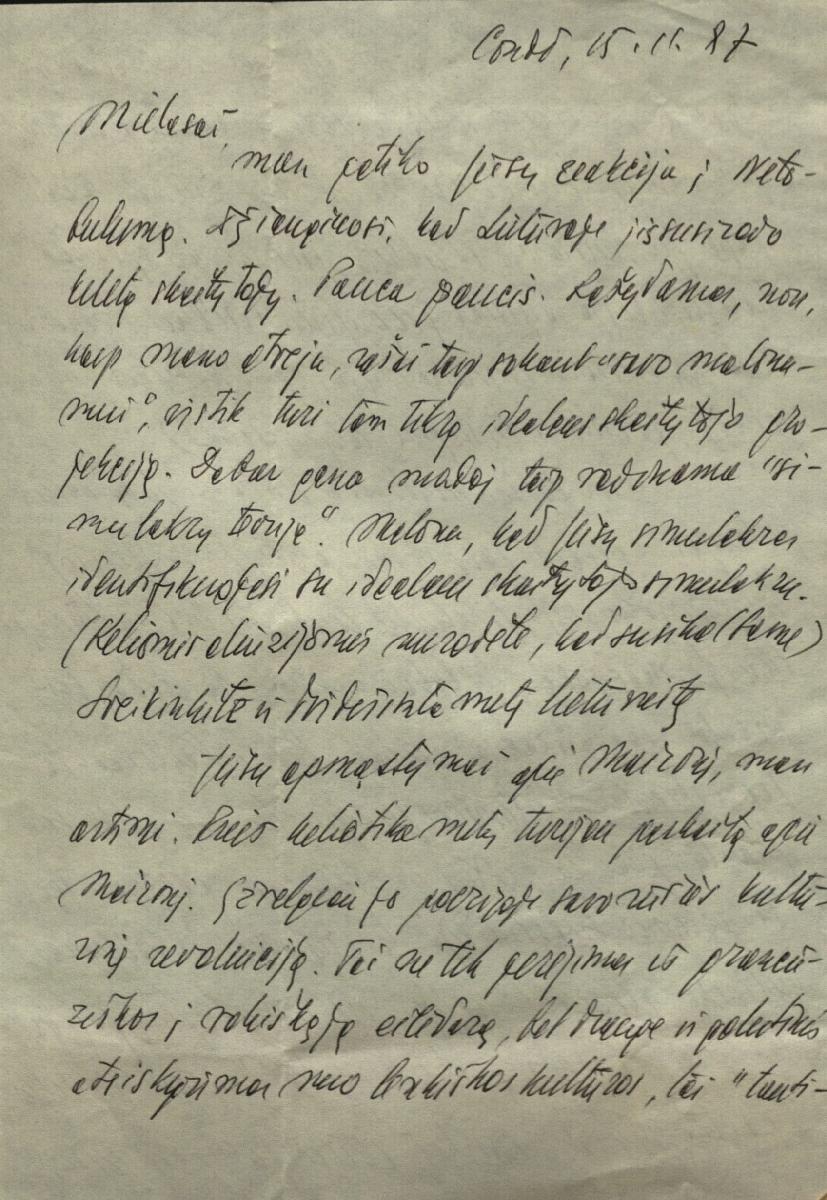 Semiotiko Algirdo J. Greimo laiškas.  Condé.  1987. 11.15.