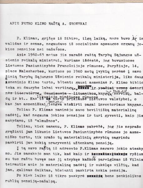 J. Urbšys apie P. Klimo laišką TSRS Užsienio reikalų ministrui A. Gromykai.