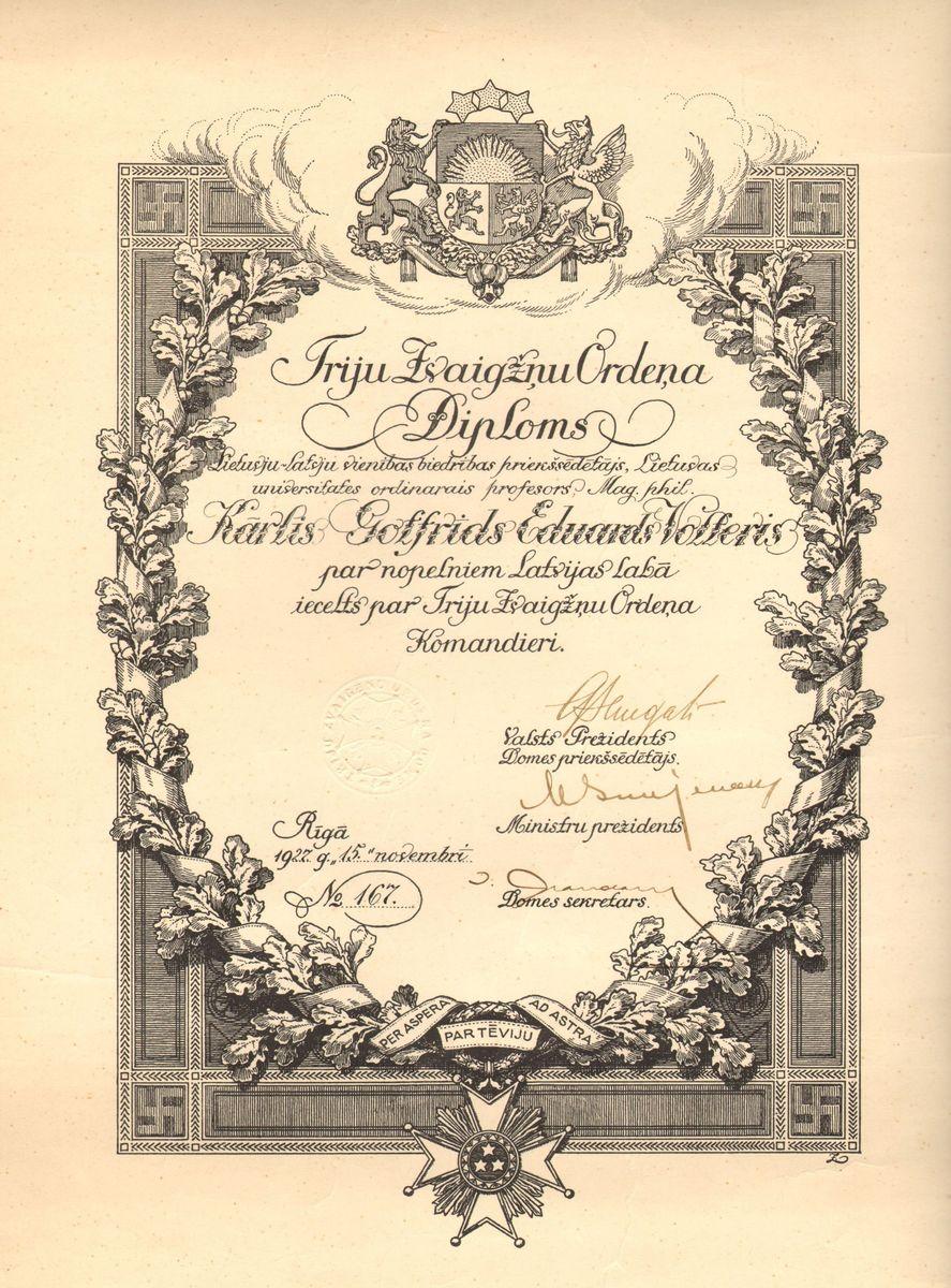 Latvijos Respublikos apdovanojimas. Ryga, 1927 lapkričio 15.