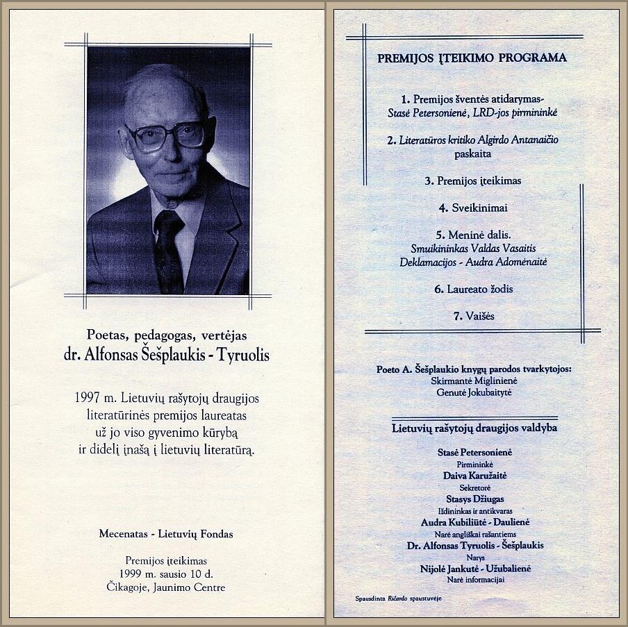1997 m. LRD Literatūrinės premijos įteikimo dr. Alfonsui Šešplaukiui-Tyruoliui programėlė.