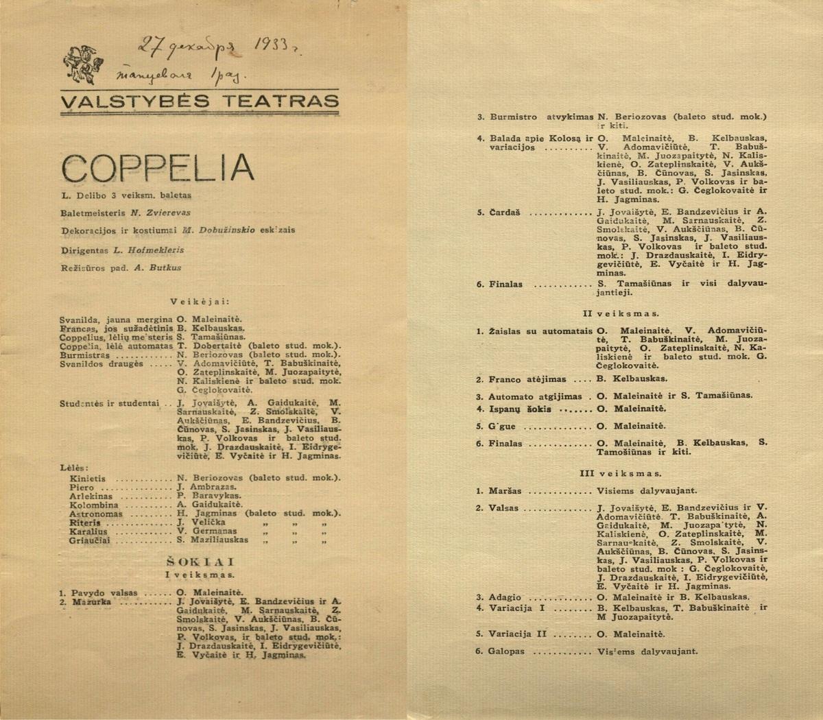 Coppelia : Léo Delibes. 3 veiksmų baletas. [Programa]. 1933 m.