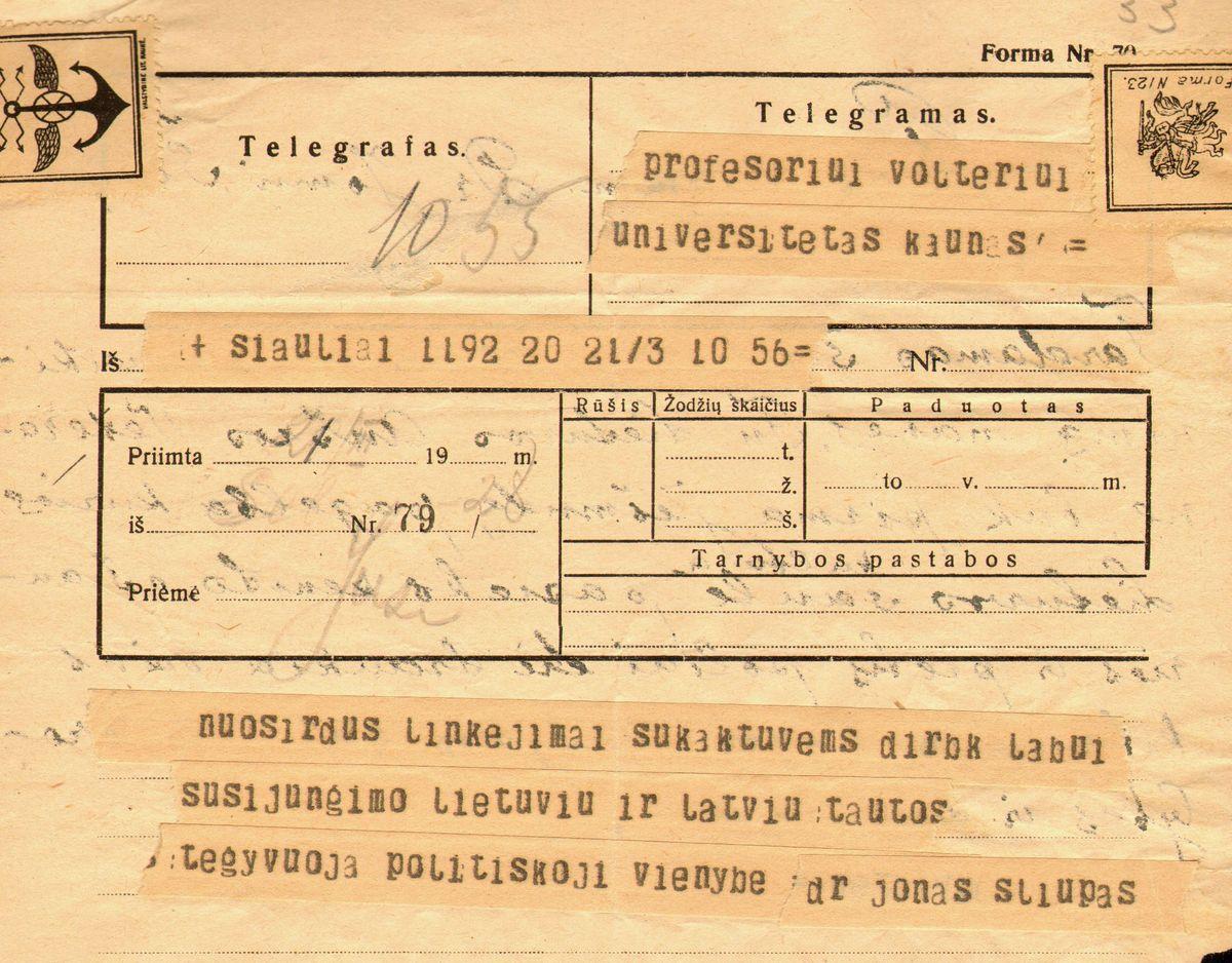 Dr. Jono Šliūpo sveikinimo telegrama Eduardui Volteriui 70-ojo jubiliejaus proga. Šiauliai, 1926 kovo 21.