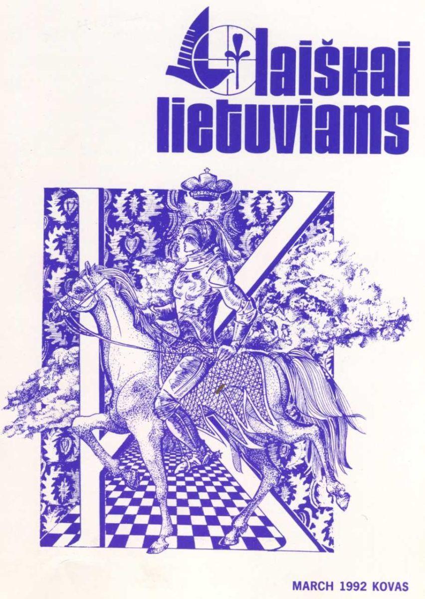 """Lietuvių vienuolių jėzuitų Čikagoje leistas religinės ir tautinės kultūros mėnesinis žurnalas """"Laiškai lietuviams"""" išsiskyrė itin aukštos kokybės poligrafija. 1992 m. kovo mėnesio viršelį puošia dailininkės Ados Sutkuvienės darbas."""
