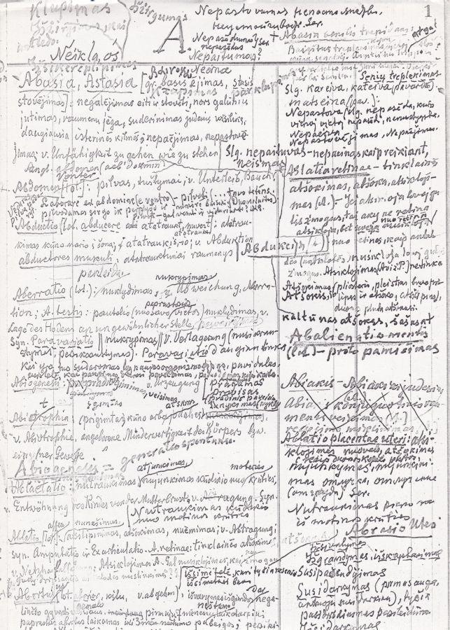 K. Griniaus raštų (Medicinos terminologija) su paaiškinimais fragmentas. Rankraščio kopija.