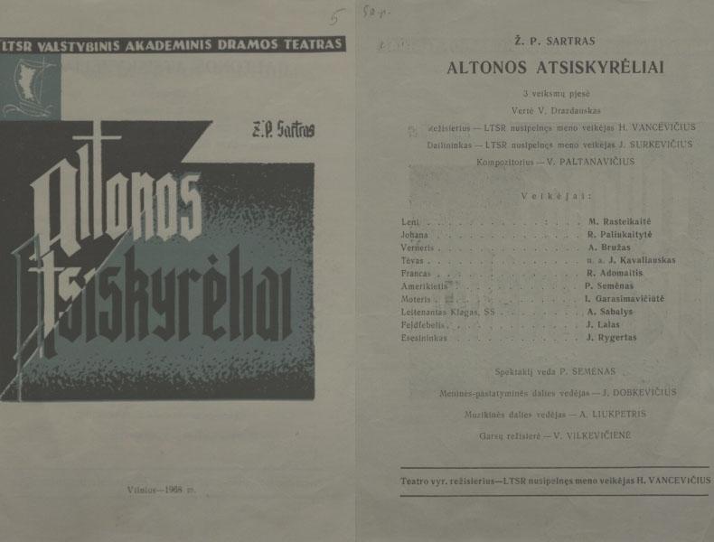 """Spektaklio """"Altonos atsiskyrėliai"""" programa."""