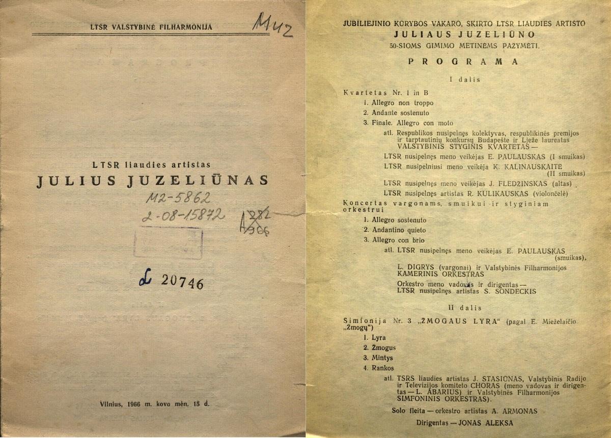 LTSR liaudies artistas Julius Juzeliūnas : [programa], Vilnius, 1966 m.