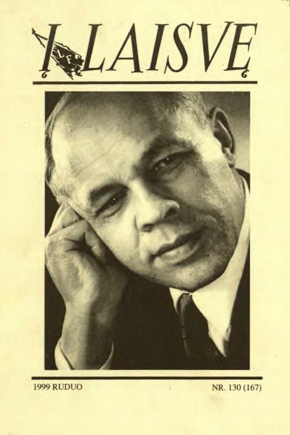 """Paskutinis išeivijoje leistas """"Į laisvę"""" numeris, 1999 m., Nr. 130 (167). Viršelyje – Juozas Brazaitis."""