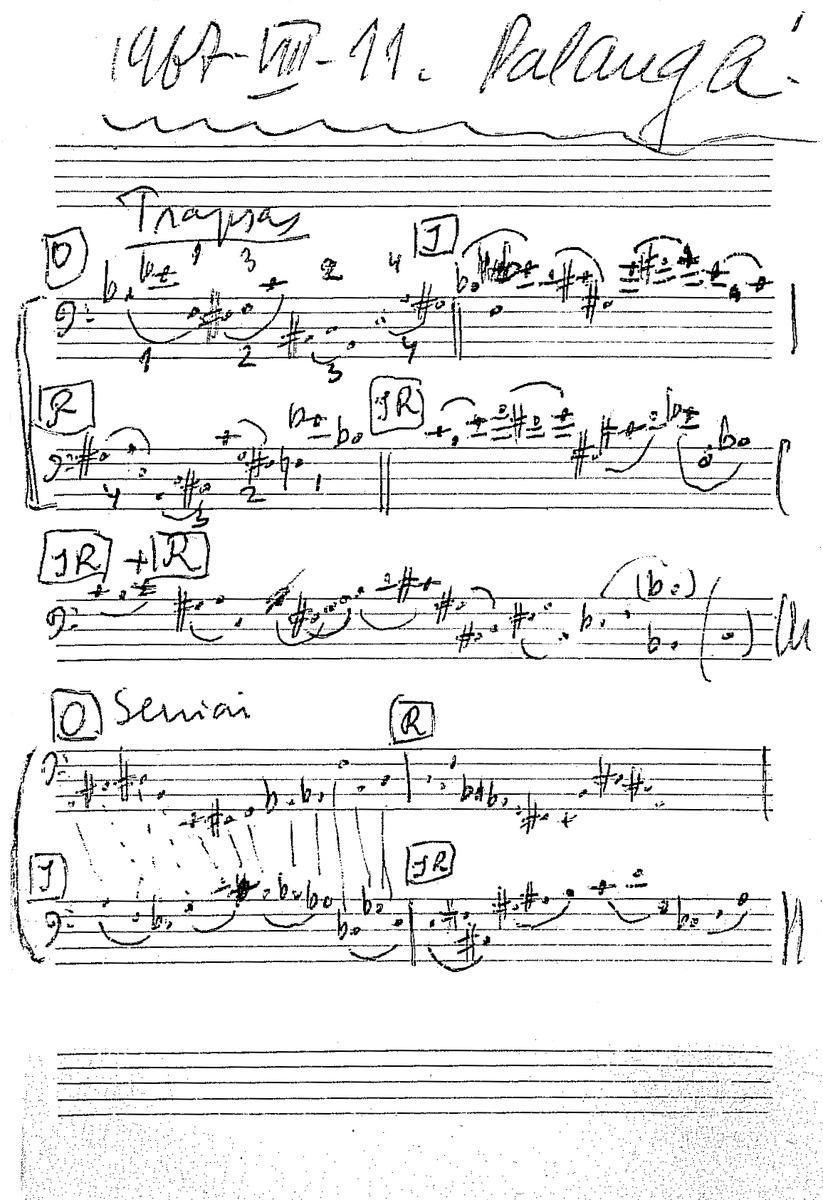"""Juliaus Juzeliūno operos """"Žaidimas"""" (""""Avarija"""") pagal Friedrichą Dürrenmattą personažų serijos, 1967 m."""