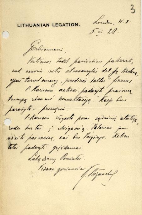 Lietuvos pasiuntinio Didžiojoje Britanijoje K. Bizausko laiškas P. Klimui. 1928 m., Londonas.