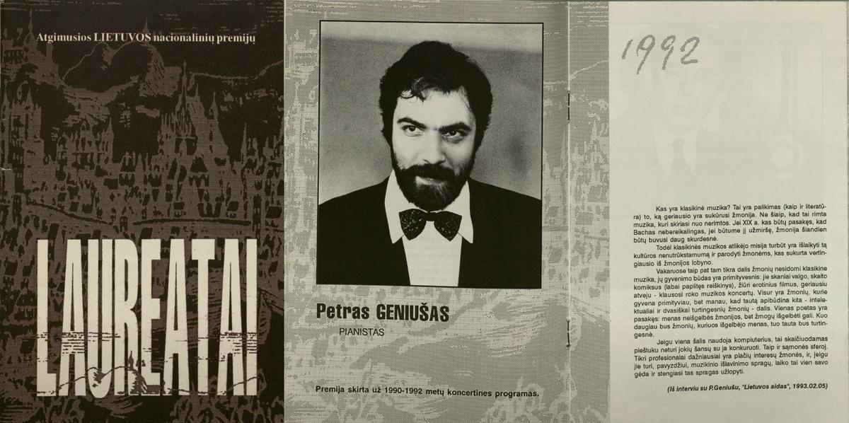 Lietuvos nacionalinės premijos laureatas pianistas P. Geniušas