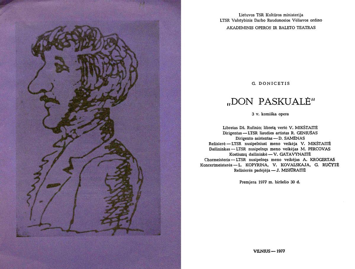 Don Paskualė. G. Donicečio 3 veiksmų komiška opera. 1977 m.