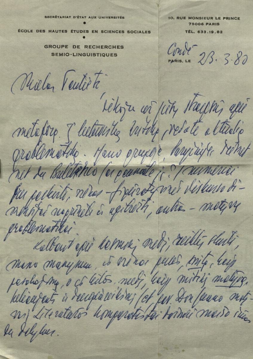 Algirdo Juliau Greimo laiškas. Condé. 1987. 11. 15