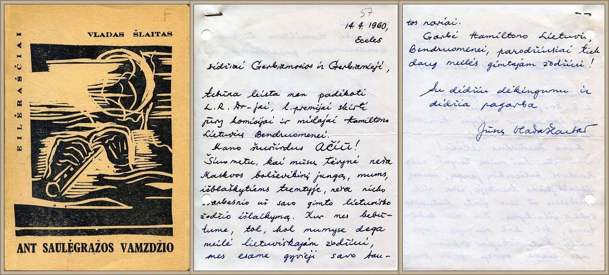 """1959-ųjų LRD literatūros premija apdovanotos V. Šlaito knygos """"Ant saulėgrąžos vamzdžio"""" (London: Nida, 1959) viršelis. <br /> V. Šlaito padėka LRD ir Hamiltono lietuvių bendruomenei už paskirtą premiją.<br />"""