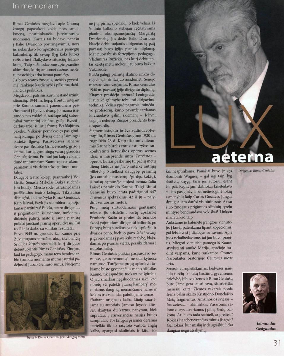 E. Gedgaudas. Lux aeterna // Bravissimo. - 2012 Nr, 1-2 p.31