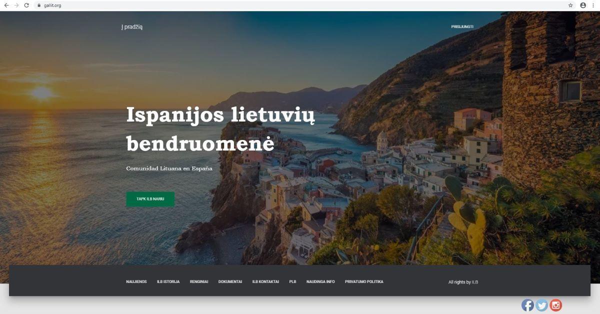 Ispanijos lietuvių bendruomenės naujausios interneto svetainės lituanos.es titulinis puslapis, 2020 m.