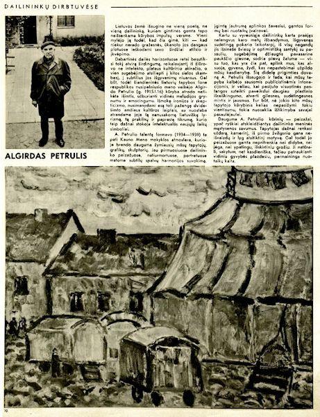 Kliaugienė, G. Algirdas Petrulis. [Dailininkų dirbtuvėse] // Dailė. 1977, kn. 19, p. 32-34.